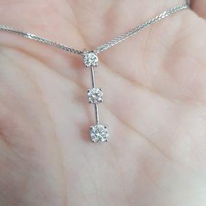 Diamond 14k white gold journey necklace